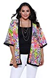 Belldini Women's plus size 3/4 sleeve open kimono with contrast detail - 3X - Poly Spandex Print Crepe Jersey