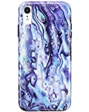 JIAXIUFEN Compatible iPhone XR Case Blue Purple Rock Design Marble Slim Shockproof Flexible Bumper TPU Soft Case Rubber Silicone Cover Phone Case for iPhone XR 2018 6.1 inch