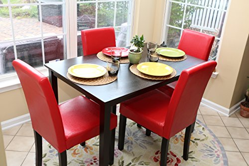 5 PC Red Leather 4 Person Table And Chairs Red Dining Dinette   Red Parson  Chair   HomeGoodsReview