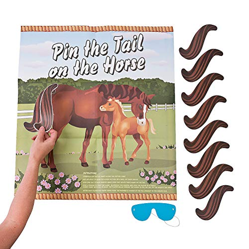 Fun Express - Pin The Tail On The Horse for Party - Toys - Games - Pin The & Bulls Eye Games - Party - 2 Pieces