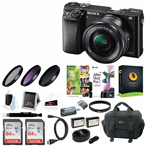 Sony Alpha a6000 Mirrorless Camera w/ 16-50mm Lens & Two 64GB SD Card Bundle B/w Low Light Camera