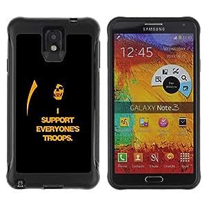 Suave TPU Caso Carcasa de Caucho Funda para Samsung Note 3 / I Support Everyone's Troops / STRONG