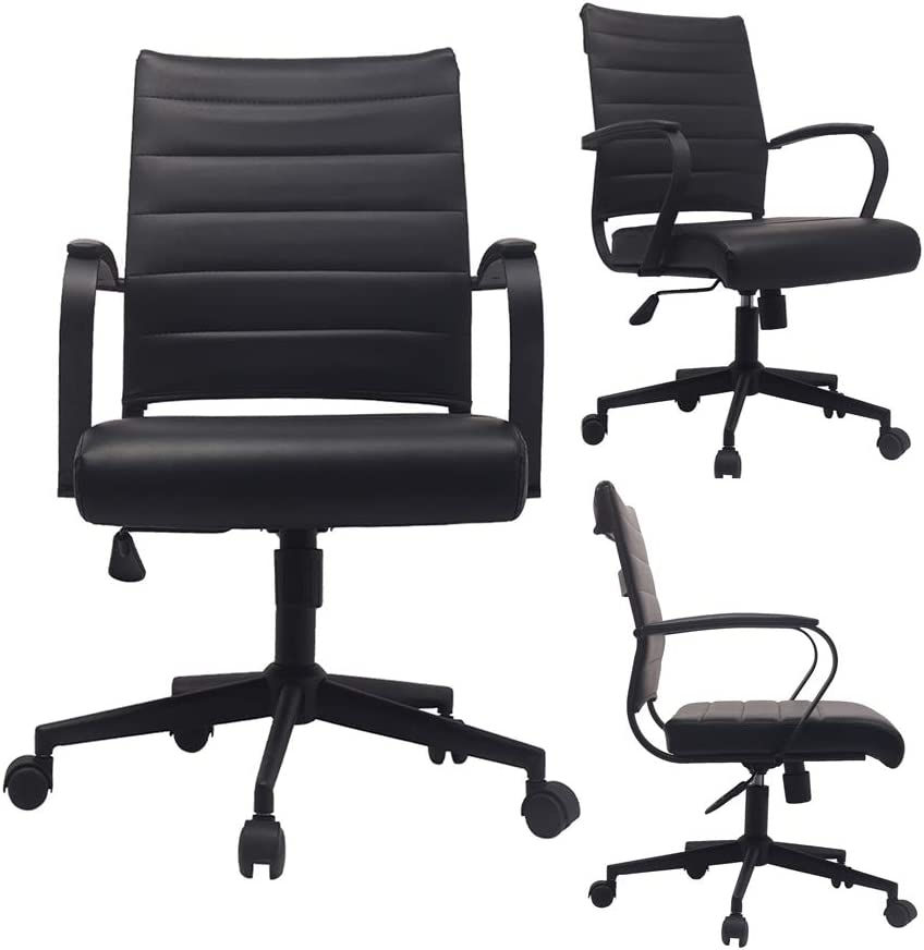 2xhome - Black- Modern Mid Back Ribbed PU Leather Swivel Tilt Adjustable Chair Designer Boss Executive Management Manager Office Chair Conference Room Work Task Computer … (All Black)