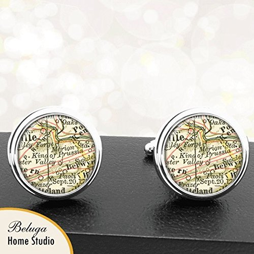 Amazon.com: Map Cufflinks King of Prussia PA Map Cufflinks ... on ottoman empire map, scotland map, lithuania map, luxembourg map, russia map, worms map, german states map, germany map, spain map, german empire map, berlin map, sardinia map, wales map, venezuela map, german confederation map, balkans map, france map, denmark map, ukraine map, austria map,