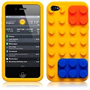 OnlineBestDigital - Brick Style Soft Silicone Case for Apple iPhone 4S / Apple iPhone 4 - Yellow with 3 Screen Protectors and Stylus