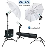 LimoStudio 600W 5500K Photo Video Studio Continuous Lighting Bundle Kit UL1573 ETL Listed Photo Bulb Socket, White Umbrella Reflector, Photography Studio, Stand Carry Bag, Light Stand Tripod, AGG293V2