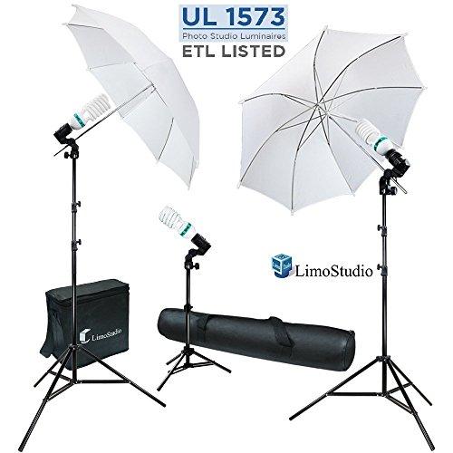 LimoStudio 600W 5500K Photo Video Studio Continuous Lighting Bundle Kit UL1573 ETL Listed Photo Bulb Socket, White Umbrella Reflector, Photography Studio, Stand Carry Bag, Light Stand Tripod, AGG293V2 by LimoStudio