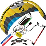 HQ Symphony Pro 2.2 Kite Edge Yellow Blue w Control Bar Bundle (4 Items) + Peter Lynn 2-Line Control Bar w Safety Leash + WindBone Kiteboarding Lifestyle Stickers + WBK Key Chain – Foil Trainer Kit