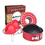 Nonstick 2-in-1 springform 7-inch cheesecake quick-release pan set: two interchangeable bottoms, egg rack for Instant Pot accessories & 2 mini Silicone Mitts; fits 5,6,8 Qt by CooKares