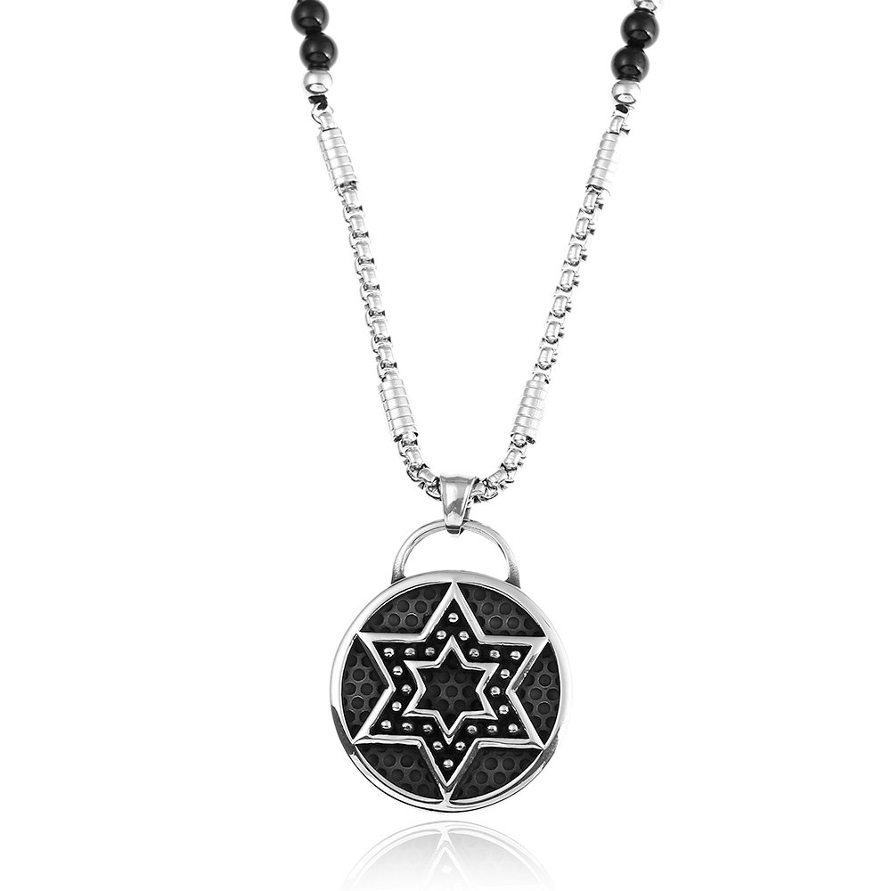 BLEUM CADE Star of David Hexagram Stainless Steel Pendant Necklace with Natural Agate Stone Chain 26