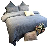 Biggest King Size Comforter Coral Velvet Duvet Cover Set,Pompoms Tassel Super Soft Quilt Cover Cute Embroidery Thicken Bedding Set Queen King-Blue Queen Size