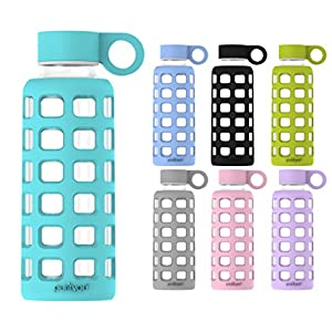 purifyou Premium Glass Water Bottle with Silicone Sleeve & Stainless Steel Lid Insert, 12 / 22 / 32 oz (Aqua Blue, 12 oz)