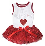 Puppy Clothes Dog Dress My Valentine with Heart White Cotton Top Red Sequin Tutu (X-Large)