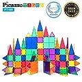 PicassoTiles 100 Piece Set 100pcs Magnet Building Tiles Clear Magnetic 3D Building Blocks Construction Playboards, Creativity beyond Imagination, Inspirational, Recreational, Educational Conventional by PicassoTiles