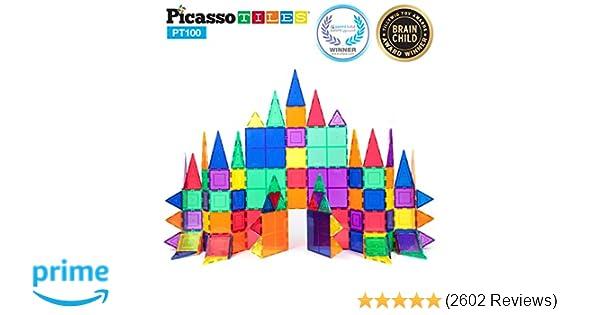 PicassoTiles 100 Piece Set 100pcs Magnet Building Tiles Clear Magnetic 3D  Building Blocks Construction Playboards, Creativity beyond Imagination,