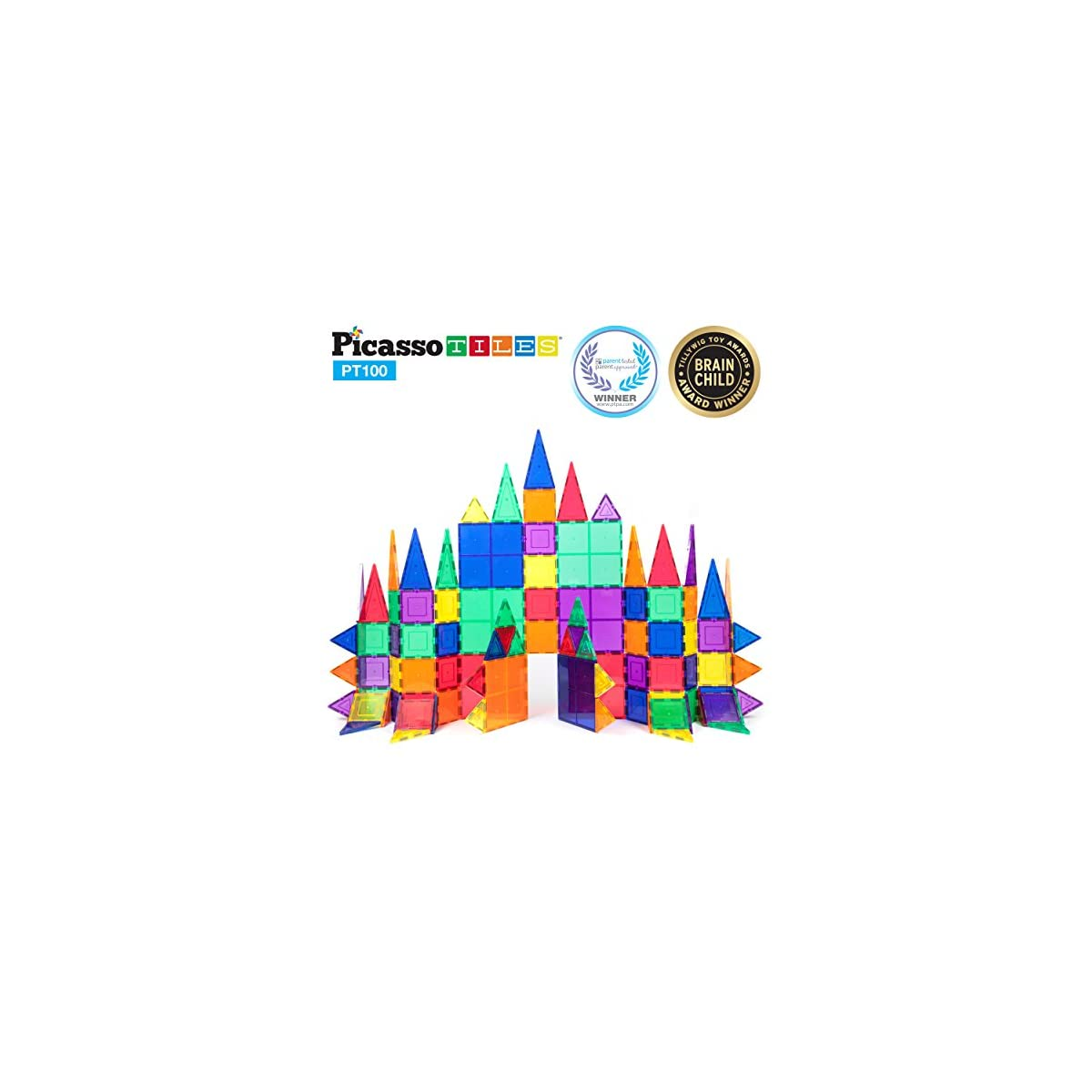 SaleProductsOffer - No.1 Best Online Store 51CIMPeqDqL PicassoTiles 100 Piece Set 100pcs Magnet Building Tiles Clear Magnetic 3D Building Blocks Construction Playboards, Creativity beyond Imagination, Inspirational, Recreational, Educational Conventional