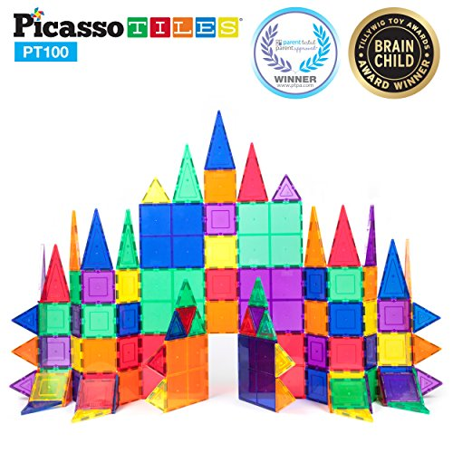 PicassoTiles 100 Piece Set 100pcs Magnet Building Tiles Clear Magnetic 3D Building Blocks Construction Playboards, Creativity beyond Imagination, Inspirational, Recreational, Educational Conventional -