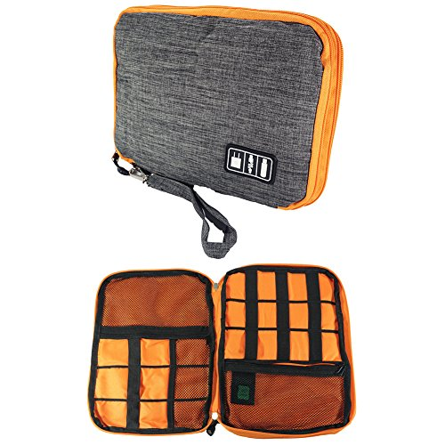 DREAM.ELK Double Layer Electronic Accessories Organizer Travel Gadget Carry Bag Cases USB Cable Organizer Bag Men Women's for Travel Outdoor Sport Photography Walking,Gray,Large