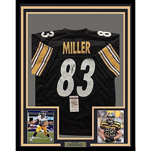 Heath Miller Autographed Jersey - FRAMED 33x42 Black COA - JSA Certified - Autographed NFL Jerseys ()