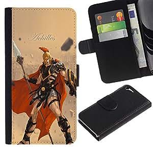 KLONGSHOP // Tirón de la caja Cartera de cuero con ranuras para tarjetas - Aquiles - Apple Iphone 5 / 5S //