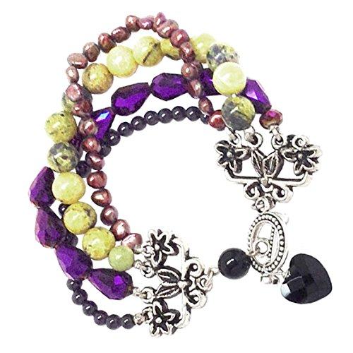 (Boho Cuff Bracelet Four Strands Pewter Serpentine Cultured Pearl Black Heart)