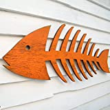 Wooden Fish Bones Cut Out Fish Skeleton Wall Art