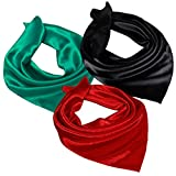 "Satin Silk Square Neck Scarf Headscarf – 3 Packs, 21"" x 21"",Small Hair Scarf,Baby Soft Silk Touching, High Color Fastness (SGR3-05)"