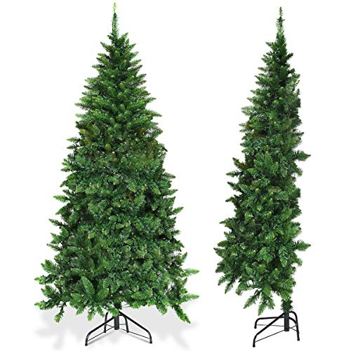 Goplus Artificial Christmas Tree Half-Shape Design, with Metal Stand, for Xmas Indoor and Outdoor Decoration (6ft) (Pre Lit Christmas Tree Only Half Lit)