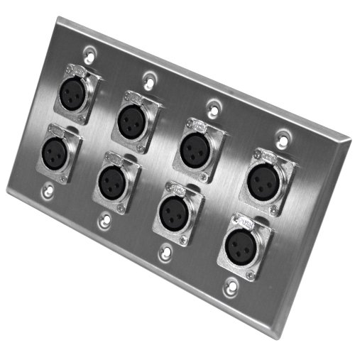 Seismic Audio SA-PLATE1 Stainless Steel Wall Plate with 4 Gang with 8 XLR Female Connectors (Xlr Female Wall Plate)