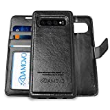 AMOVO Case for Galaxy S10 Plus/S10+ (6.4'') [2 in 1] Samsung Galaxy S10 Plus Wallet Case Detachable [Vegan Leather] [Wrist Strap] S10+ Flip Case with Gift Box Package (S10Plus (6.4'') Black)
