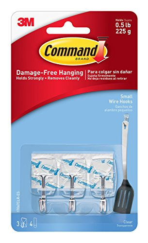 Command Wire Hooks, Small, Clear, 3-Hooks (17067CLR-ES)