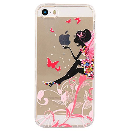 iPhone 5 5S Case, JAHOLAN Amusing Whimsical Design Clear Bumper TPU Soft Case Rubber Silicone Cover for iPhone 5/5S/SE - Flower Fairy