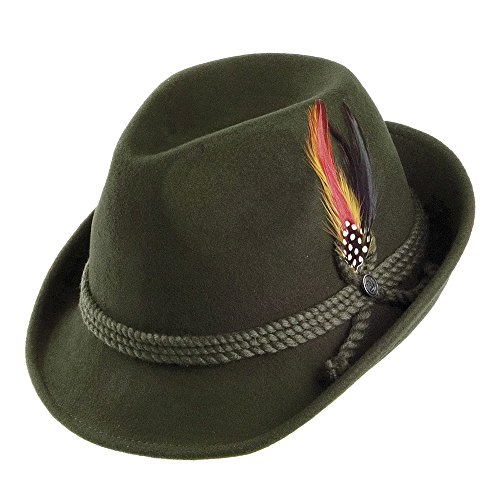 Jaxon Alpine Fedora Hat (Medium, Moss)]()