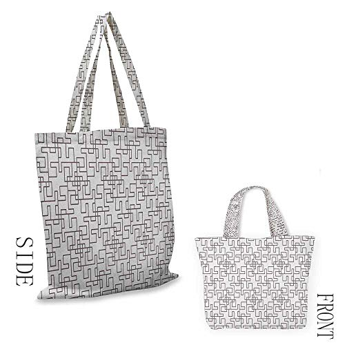 """Tote bag GeometricAbstract Grid Design with Twisted Stripes Modern Digital Minimalist Inspiration Umber White18""""W x 16""""H"""