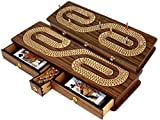 continuous track cribbage board / pegging board inlaid with Teak Wood / Maple