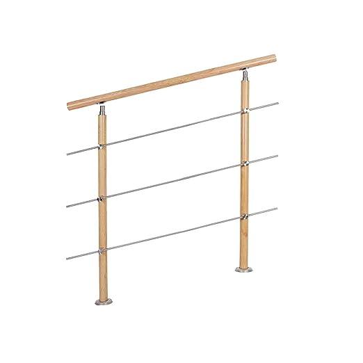 Barandilla para escaleras de UISEBRT, de acero inoxidable, vetas de madera con 2/3 travesaños, barandilla para interior y exterior, escaleras, balcón
