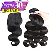 Vshow Hair 8A Brazilian Human Hair Bundles with Closure 14 16 18 with 12''Closure 100% Unprocessed Brazilian Virgin Hair Body Wave 3 Bundles Weave with Free Part 4X4 Lace Closure Natural Color