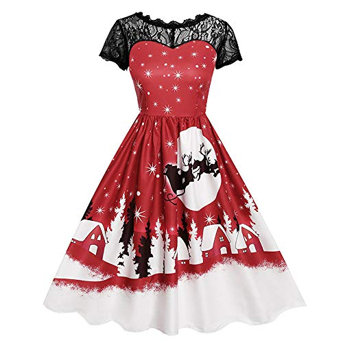 iDWZA Women Lace Short Sleeve Print Christmas Party Swing Mid-Calf Dress Skirt(S,Red) -