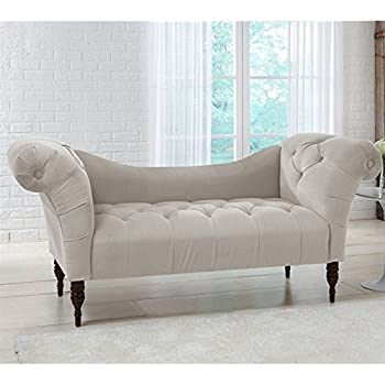 Amazon Skyline Furniture Tufted Chaise Lounge in Light Gray