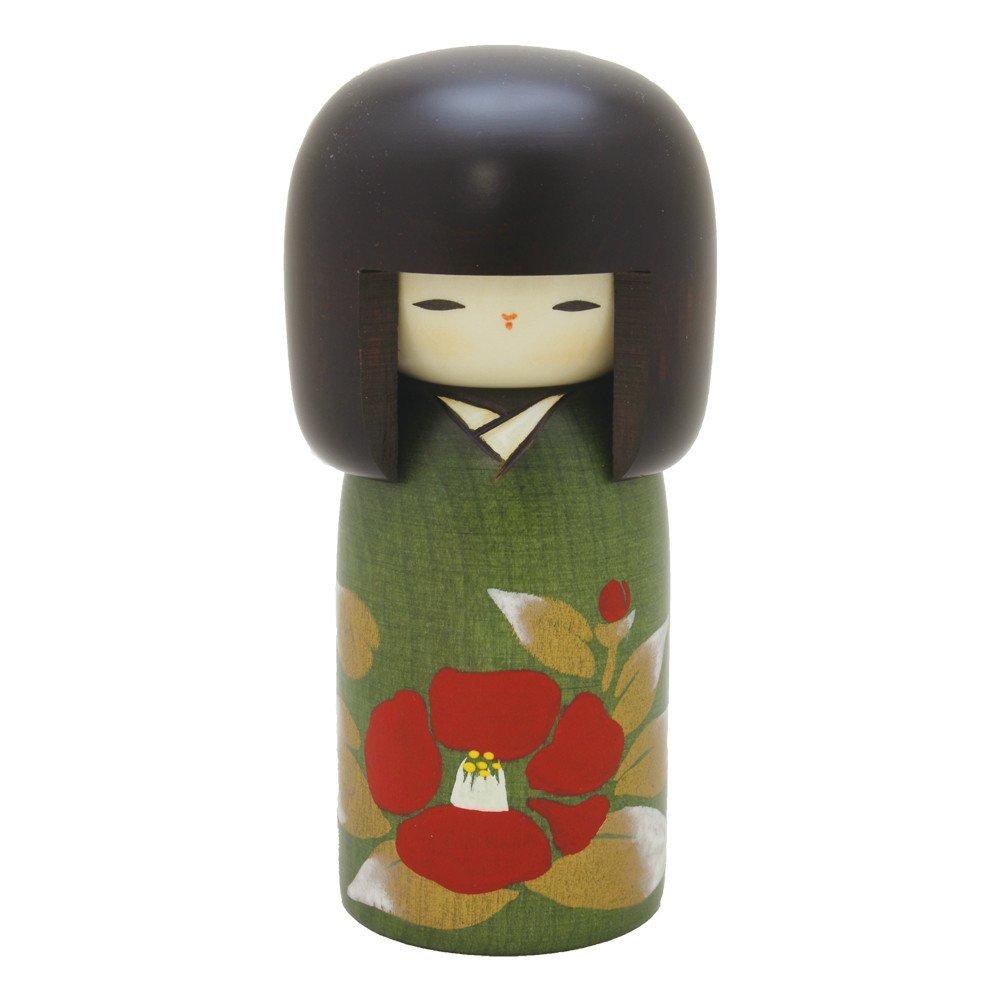 Usaburo Japanese Kokeshi Wooden Doll, Camellia Green Kimono