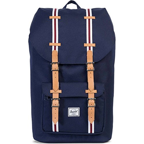 Herschel Supply Co. Unisex Little America Peacoat/White/Windsor Wine/Veggie Tan Leather One Size
