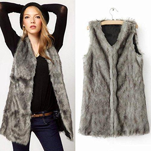 Long Size 2xl Warm DAYLIN Vest Women Fur Waistcoat Plus Faux Jacket Winter Coat OvSqwq6