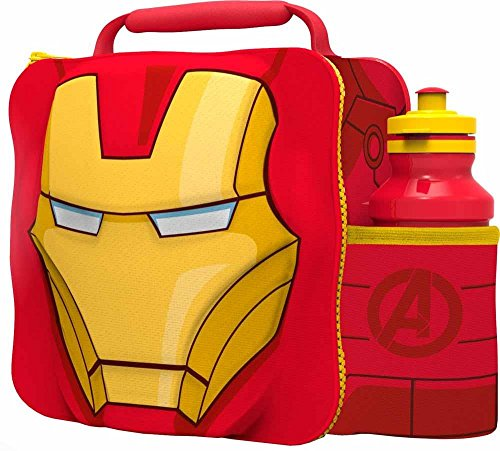 Marvel Avengers Iron Man 3d Thermal Lunch Bag With Bottle