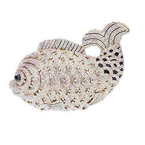 Bag Animal Sac Gold Embrayage soirée Main Sacs Ab Body Cross Cristal à Femmes Poisson de x7WzFnRga