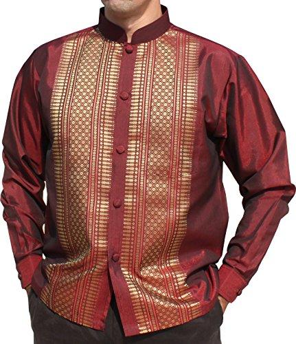 (RaanPahMuang Brand Long Sleeve Formal Chinese Woven Motif Silk Shirt, Small, Red)
