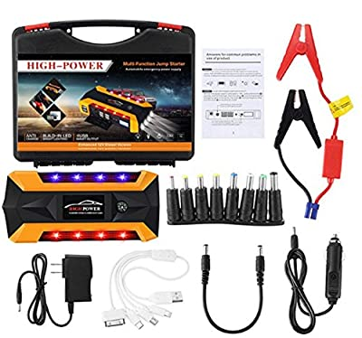 Car Jump Starter Build with Air Compressor 10 in 1 set,600A Peak 12000 mAh Capacity,4 USB Ports,4 LED flashlight and 2Rows of Color flashLight/Digital Display for Diesel and Petrol Vehicles