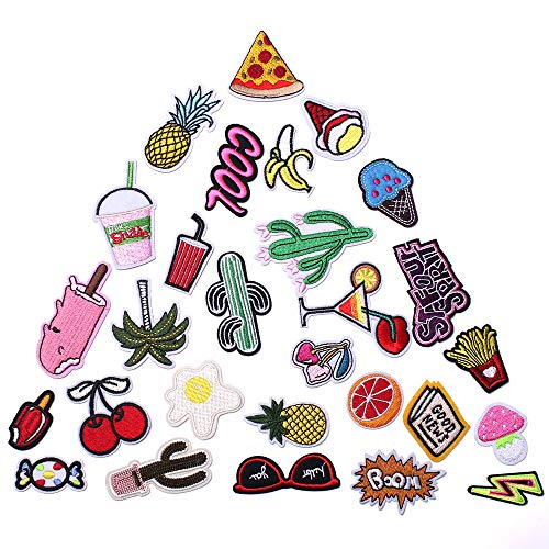 SHELCUP Cool Embroidered Iron on Patches, for Jackets, Packs, Jeans, Assorted Styles, 28pcs Dersert