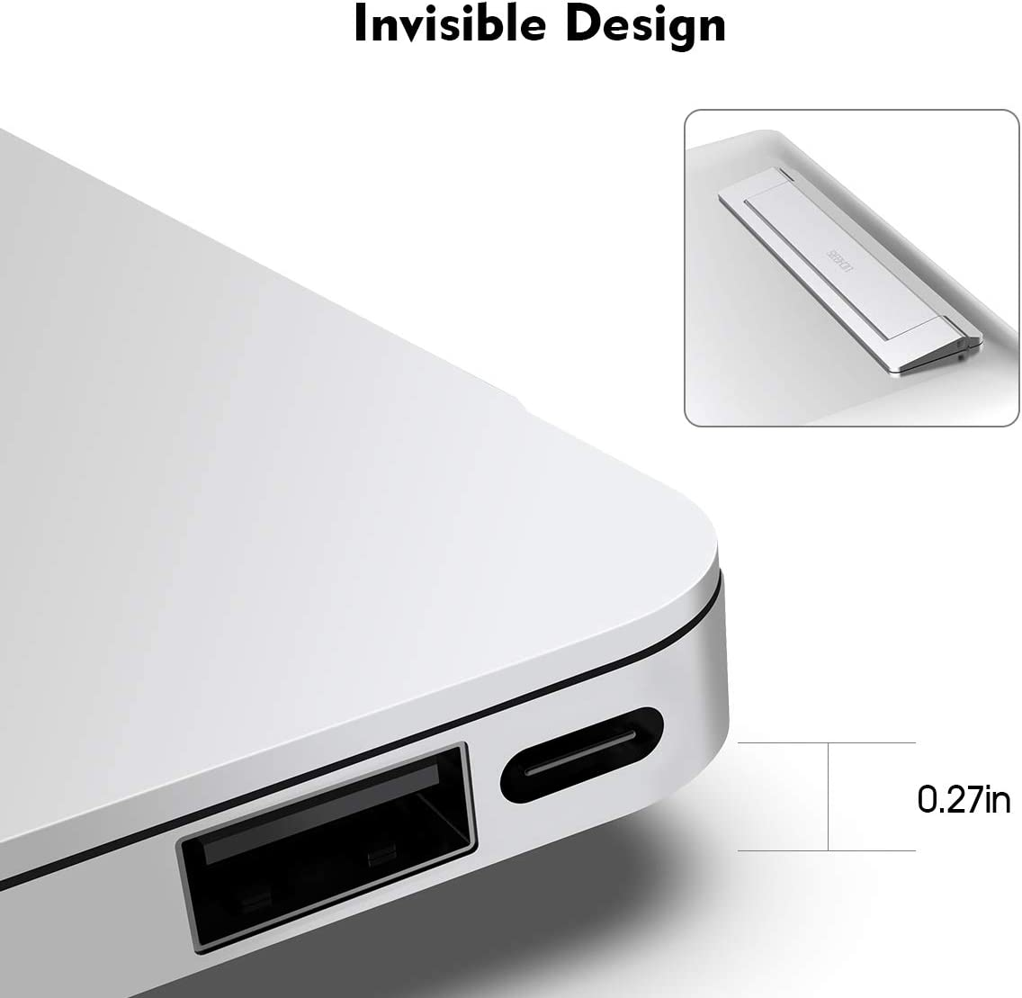 Silver Foldable Laptop Holder Compatible with All 10-17 Laptops Laptop Stand Licheers Invisible Aluminum Notebook Stand for Desk