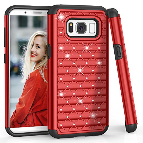 (TILL S8 Case, Galaxy S8 Case for Girls Women, (TM) Studded Rhinestone Crystal Bling Shock Absorbing Hybrid Defender Rugged Slim Case Cover for Samsung Galaxy S8 S VIII 5.8 Inch 2017 [Red])
