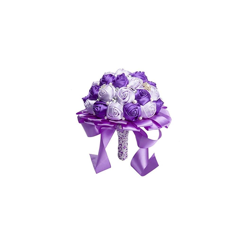 PYJTRL-Multicolor-Crystal-Pearl-Wedding-Bridal-Bridesmaid-Ribbon-Bouquets